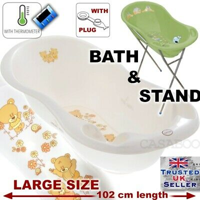 Large Baby Bath Tub with STAND + thermometer & drain -102 cm -  GREY OWL