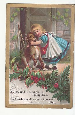 My Dog and I Send You a Loving Kiss Valentine Christmas Victorian Card c1880s