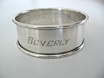 Sterling silver napkin ring engraved BEVERLY