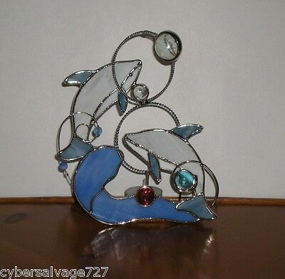 Stained Glass Dolphin Tea Light Candle Holder Dolphins Jumping Through Hoops