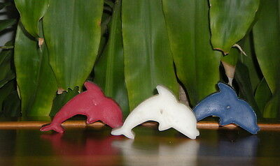 Set of 3 Nautical Red White and Blue Dolphin Tea Light Candles  Beeswax