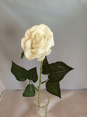 Single White Coloured Artificial Rose Long Stem