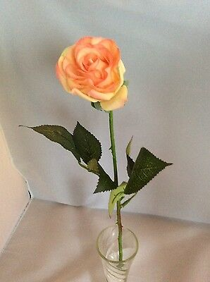 Single Champagne (Orange & Yellow) Coloured Artificial Rose Long Stem
