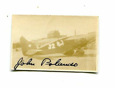 Autograph on Photo early aviation pilot JOHN POLANDO in airplane