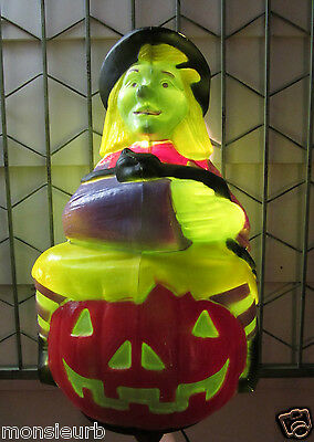 """Vintage Witch with Black Cat 23"""" tall Blowmold Blow Mold yard 1993 TPI Halloween"""