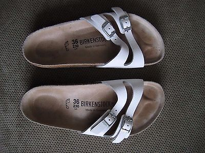 Birkenstock 36  Sandals White Two Strap Leather Casual Women US size  5