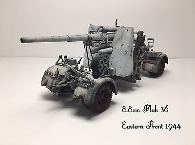 Whitewashed 88mm FlaK 36; Eastern Front 1944; 1/35 Built Working Model/Modello