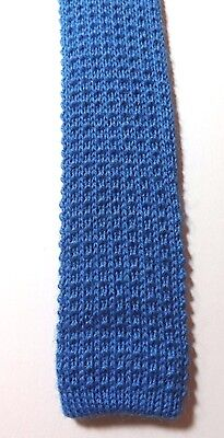 Retro PURE WOOL KNITTED SKINNY NECK TIE Mid Blue MOD SCOOTER FREE P&P