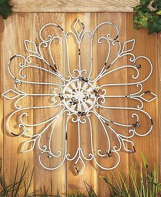 Rustic Scroll Metal Wall Art Medallion Wrought Iron Antique Country Porch Decor
