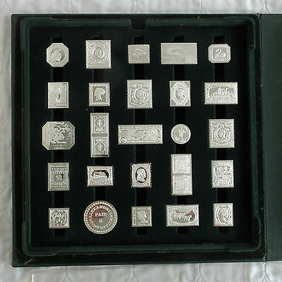 50 X SILVER PROOF STAMP INGOT 1980s SOCIETY OF POSTMASTERS SET - complete