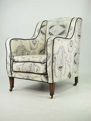 Antique Edwardian Armchair - Laura Ashley Fabric Rosewood Framed Tub Chair