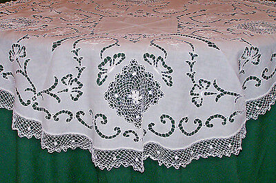 "Fabulous Edwardian Era Mixed Lace Table Topper, Gorgeous Lace, 36"" Diameter 1920"