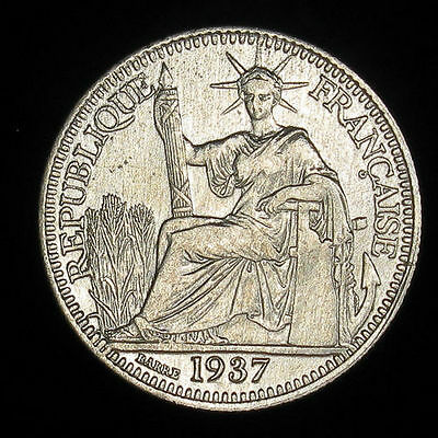 French Indo-china 10 Cents Silver coin 1937 , KM # 16.2 , AU condition
