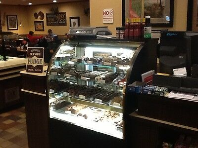 "Refrigerated 36"" Candy chocolate display curved front, black exterior, lighted"