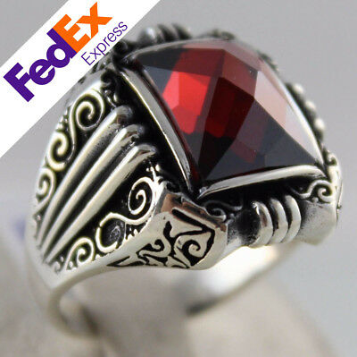 TURKISH Handmade Ottoman 925 Sterling Silver Ruby Men Ring Gift for Him All Size