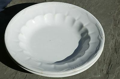 "Pair Of J & G Meakin White English Ironstone 9"" Wheat & Hops Soup Bowls 1868"