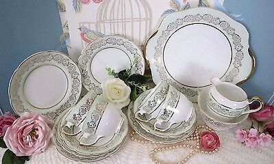 Vintage Laurie & Co London Mint Green/Gilt China Tea Set for 4, Lovely Condition
