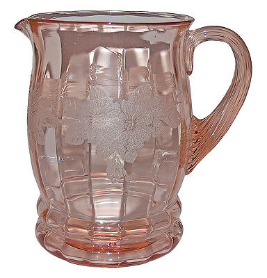 MacBeth Evans Pink Dogwood Screen Etched Pitcher