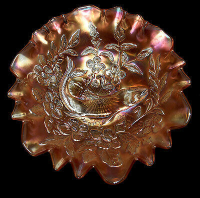 Millersburg Trout and Fly Marigold Carnival Glass Bowl