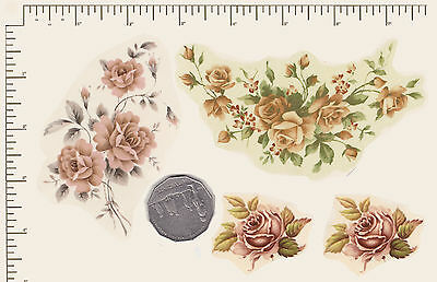 4 x Waterslide ceramic decals Vintage. Various sizes. Roses. PD876
