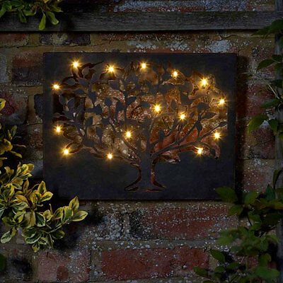 Outdoor Wall Art Garden Metal Tree Solar Hanging Decoration 12 LED Lights Gift