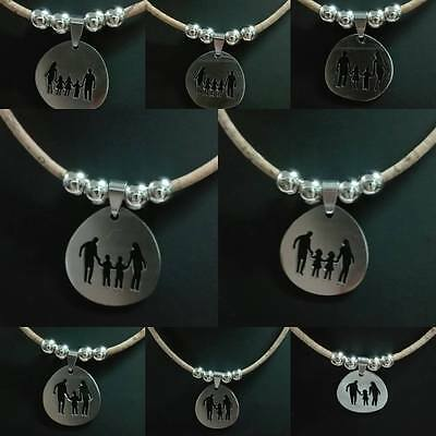 Women's cork necklace with stainless steel family Fashion necklace Vegan necklac
