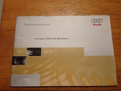 Audi A3,A4,A6 Audi Concert Sound System Manual Operating 1998-?