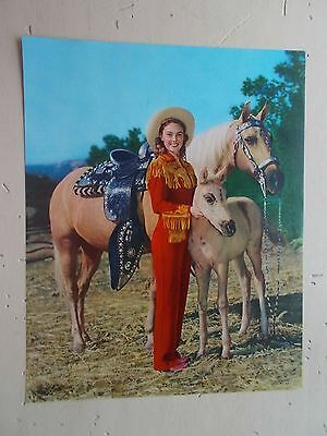 """Vintage The New """"Pal"""" Western Cowgirl Palomino Horse Foal Calendar Print Sample"""