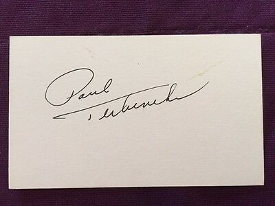 Paul Terbenche NHL Hockey Vintage Signed Index Card