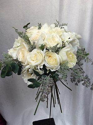 Made To Order Artificial Silk Cream Rose Rustic Foliage Silver Wedding Bouquet