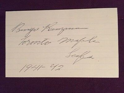 Rudolph Bingo Kampman RARE Leafs Hockey Vintage Signed Index Card IP (D. 1987)