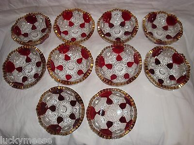 Rare Millersburg Hobstar & Honeycomb Ruby Stain, & Gold Berry Bowl Set of 10