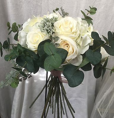 Made To Order Artificial Silk Cream Rose Peony Rustic Foliage  Wedding Bouquet