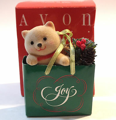 Vintage Avon Christmas Holiday Friend Ornament Teddy In Bag Avon Gift Collection