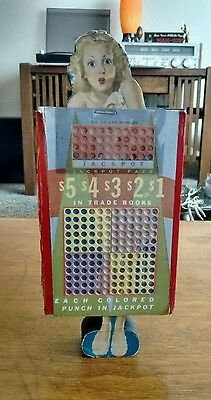 Vintage 1940-50s Unpunched Blonde Pin-Up Punch Board Game Gambling Final Reduced