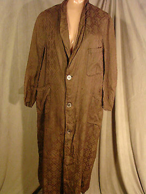 Vintage 20s 30s Mens Robe DECO Brown FC Damask  Iridescent