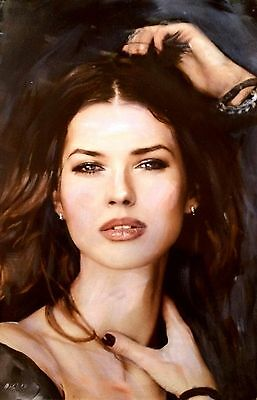 """NEW WILLIAM OXER ORIGINAL CANVAS """"Shared Thoughts"""" Pretty Woman Girl PAINTING"""