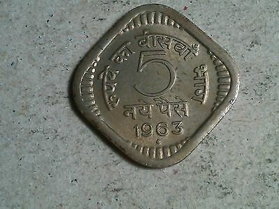 India 5 paise 1957 Square coin