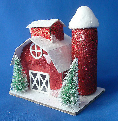 "Putz red barn with sisal trees Christmas Tree Ornament 3¾"" tall glittered"