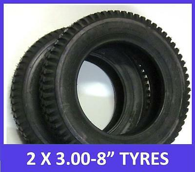 """2 x 3.00 x 8"""" Mobility Scooter Tyres. Black. Top Quality"""