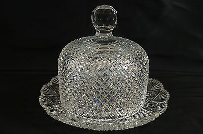 American Brilliant Cut Crystal Diamonds & Fans With Central Hobstar Cheese Dome