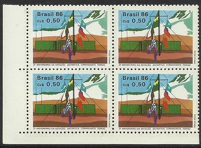 BRAZIL 1986 ANTARCTIC BASE FLAGS LEFT CORNER BLOCK of 4 1v Mint Never Hinged
