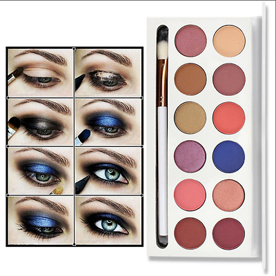 Cosmetics Shimmer Eyeshadow Palette Natural 12 Colors Smoky makeup Matte