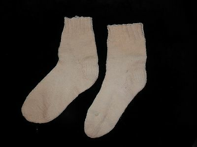 WONDERFUL 1930'S Vintage Off White Ladies Wool Hand Knit Socks 6/7