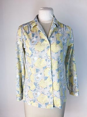 Vintage Blue Floral Blouse Long Sleeve Yellow 1960s Polyester Shirt