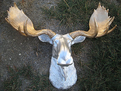 Silver Moose Head With Gold Antler Large Wall Mount Lodge Cabin Log Taxidermy