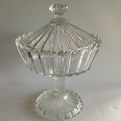 """Vintage Indiana glass 12"""" Covered Pedestal Compote with lid clear pressed"""