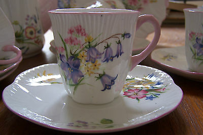"Shelley - ""Wild Flowers"" Coffee Set - # 13668 - Dainty Shape"