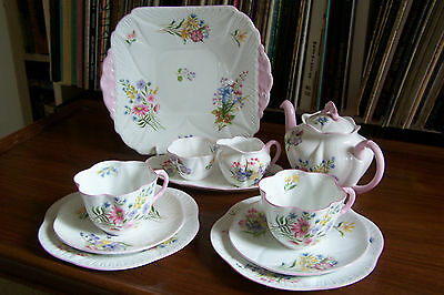"Shelley - ""Wild Flowers"" Tea Set for Two - # 13668 - Dainty Shape"