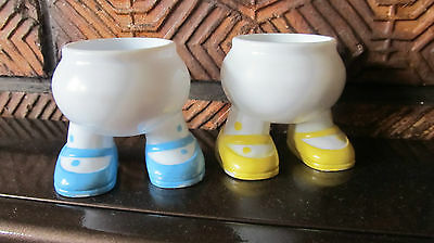Vintage Retro Plastic Egg Cups With Legs Yellow and Blue